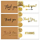 72 Thank You Cards and Envelopes and Sealer Sticker Assortment, 36 Flat Brown Kraft Paper Thank You Cards, 36 Flat White Thank you Cards, Blank Card, 12 Designs, 4 x 6 Inches