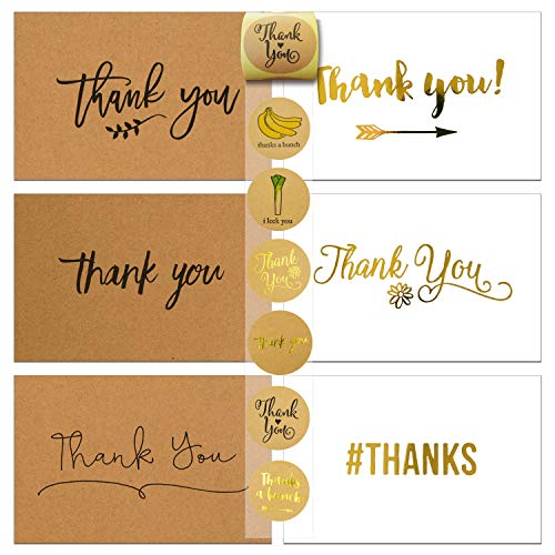 72 Thank You Cards and Envelopes and Sealer Sticker Assortment, 36 Flat Brown Kraft Paper Thank You Cards, 36 Flat White Thank you Cards, Blank Card, 12 Designs, 4 x - Card Brown Flat