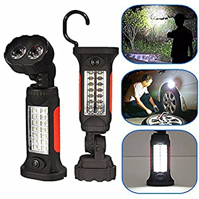 Geekercity LED Work Light Portable Camping Light Flashlight Bright Working Lights 360 Degree Rotating Hanging Hook and Magnet Base Design for Auto, Home, Hunting, Fishing, Emergencies