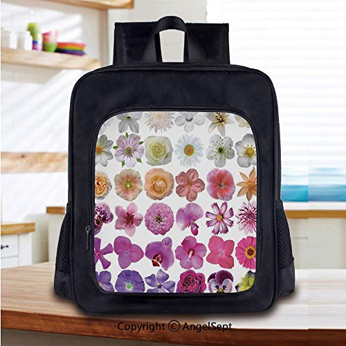 14 Inch Backpack,Pattern of Vase Flowers Petunia Botanic Wild Orchid Floral Nature Art Decor Perfect for Primary, Preschool, Daycare, and Day Trips,White Lilac Pink