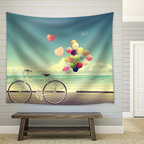 Retro Style Bike with Balloons Fabric Tapestry