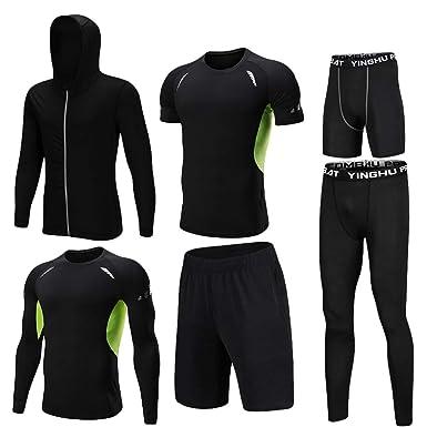 Lvguang Set da Running da Uomo Abbigliamento da Palestra Collant  Elasticizzato a Compressione Fitness Allenamento Sport 97e10b94074