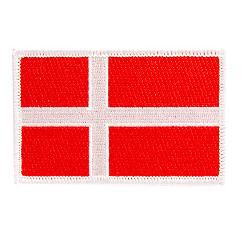 Denmark Flag Patch Single 3.5Wx2.25H Iron On Sew Embroidered Tactical Morale Back Pack Hat Bags (Single Patch)