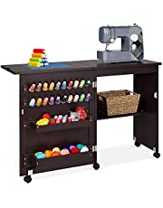 Best Choice Products Folding Sewing Table Multipurpose Craft Station & Side Desk with Compact Design, Wheels, Shelves, Bins, Pegs, Magnetic Doors, Metal Doorknobs - Espresso