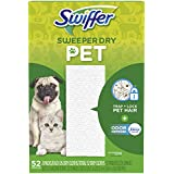 Swiffer Sweeper Dry Mop Pet Refills for Floor Mopping and Cleaning, All Purpose Cleaning Product, Odor Defense with Febreze Freshness, 52 Count