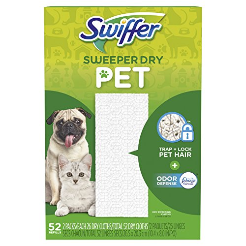 Swiffer Sweeper Dry Mop Pet Refills for Floor Mopping and Cleaning, All Purpose Cleaning Product, Odor Defense with Febreze Freshness, 52 Count ()