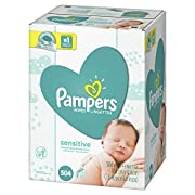 Baby Wipes, Pampers Sensitive Water Based Baby Diaper Wipes, Hypoallergenic and Unscented, 9X Pop-Top Packs, 504 Count Total Wipes