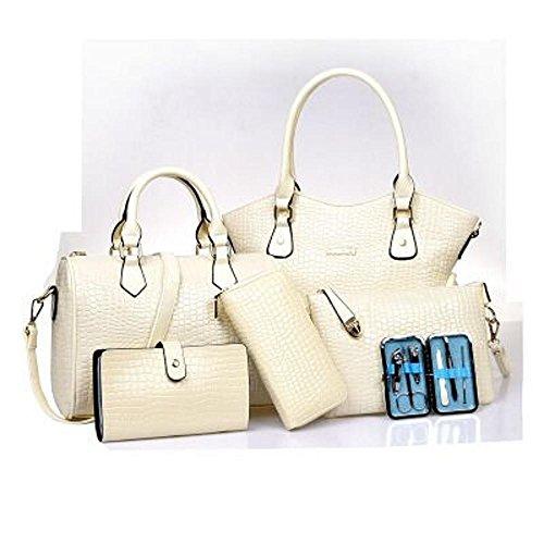 Aoligei Cocodrilo patrón bolso mujer gama alta tendencia seis piezas dama bolso moda solo hombro diagonal cruzada pack F