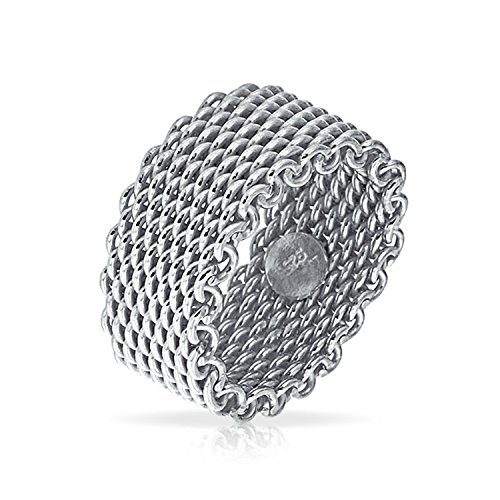 Wide Cable Mail Chain Woven Mesh Band Ring For Men For Women Weave Braided 925 Sterling Silver