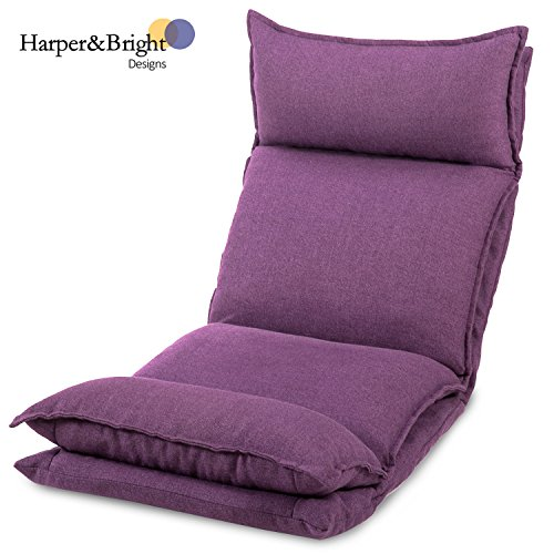 Harper & Bright Designs Folding Sofa Chair Cushioned Floor Sofa Chair Relaxing Lazy Sofa Couch (Purple) Review