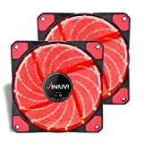 led 120mm fan - 2 Pack 120mm Red LED PC Fan Cooling PC and Light Up Computer Case with Cool Look, Long Life Bearing with DC 15 LED Illuminating PC Case. Quiet Durable Fans Enhance Performance of Tower