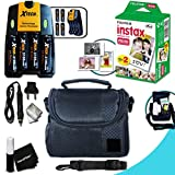 Complete ACCESSORIES KIT for Fujifilm Instax Mini 90 Neo Classic, Mini 90 Black, Mini 90 Brown w/ 20 Instax Film + Custom Case + 4AA Batteries (3100mAh) + AC/DC Quick Charger w/ Car Adapter + MORE