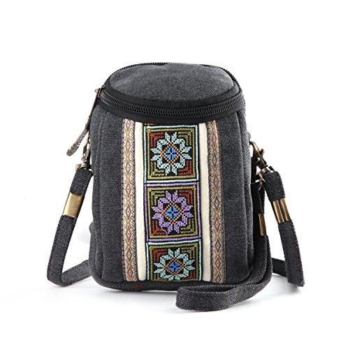 Goodhan Handmade Embroidery Canvas Crossbody Bag Cell phone Pouch Coin Purse for Women Girls (Deep Grey)
