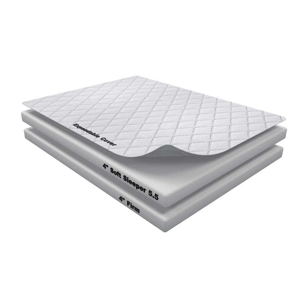 8 Inch Soft Sleeper 5.5 Queen RV/Truck Mattress Bed With 4 Inches of Visco Elastic Memory Foam Assembly Required USA Made