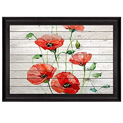 Incredible Visual, Branches of a Red Watercolor Poppy Field Over Wooden Panels Nature Framed Art, That's 100% USA Made