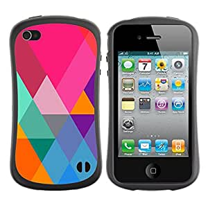 Suave TPU GEL Carcasa Funda Silicona Blando Estuche Caso de protección (para) Apple Iphone 4 / 4S / CECELL Phone case / / Teal Orange Polygon Pattern Triangle /