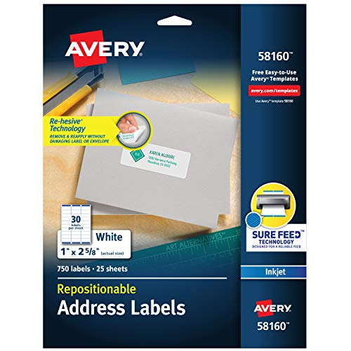 (Avery Repositionable Address Labels for Inkjet Printers 1 x 2-5/8, Pack of 750 (58160) )