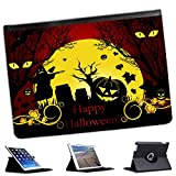 Halloween Pumpkin Bats Scarecrow For Apple iPad Air 2 [2014 Version] Faux Leather Folio Presenter Case Cover Bag with Stand Capability