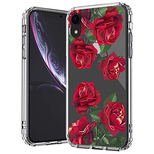 (MOSNOVO iPhone XR Case, Clear iPhone XR Case, Red Roses Floral Flower Pattern Clear Design Transparent Plastic Hard Back Case with Soft TPU Bumper Protective Case Cover for Apple iPhone)