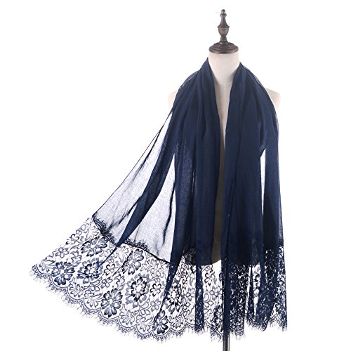 Women Fashion Scarf Wrap Shawl,RiscaWin Autumn Soft Lightweight Lace Scarves Wrap Warm Scarf(Navy) ()