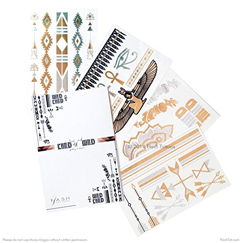 WILD CHILD BUNDLE from Flash Tattoos includes the Child of Wild pack (4-sheets) and Desert Dweller pack (4-sheets) over 70 premium festival inspired waterproof metallic temporary jewelry tattoos by Flash Tattoos (Image #9)