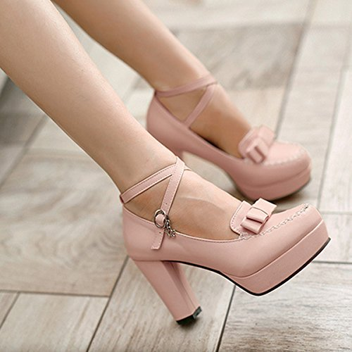 Pink Women's Block Shoes High Belt Bright CHNHIRA Toe Summer Court Heel Bowknot wPAYY6qx
