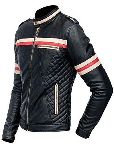 Biker estilo Leatherly rojas blancas negro rayas cuero moto con y dSqU5q