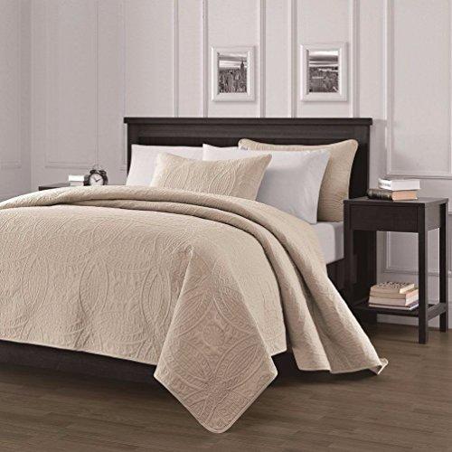 Collection Austin 3-piece Oversized Bedspread Coverlet Set Khaki/King Size (Austin Bedroom Set Set)
