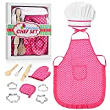 Gifts for 2-8 Year Old Girls, Easony Cooking Set for Girls Toys for 2-8 Year Old Girls Chef Set for Girls 2-8 Year Old Girl Gifts Cooking Toys for Girls Age 2-8 Pink Stocking Stuffers
