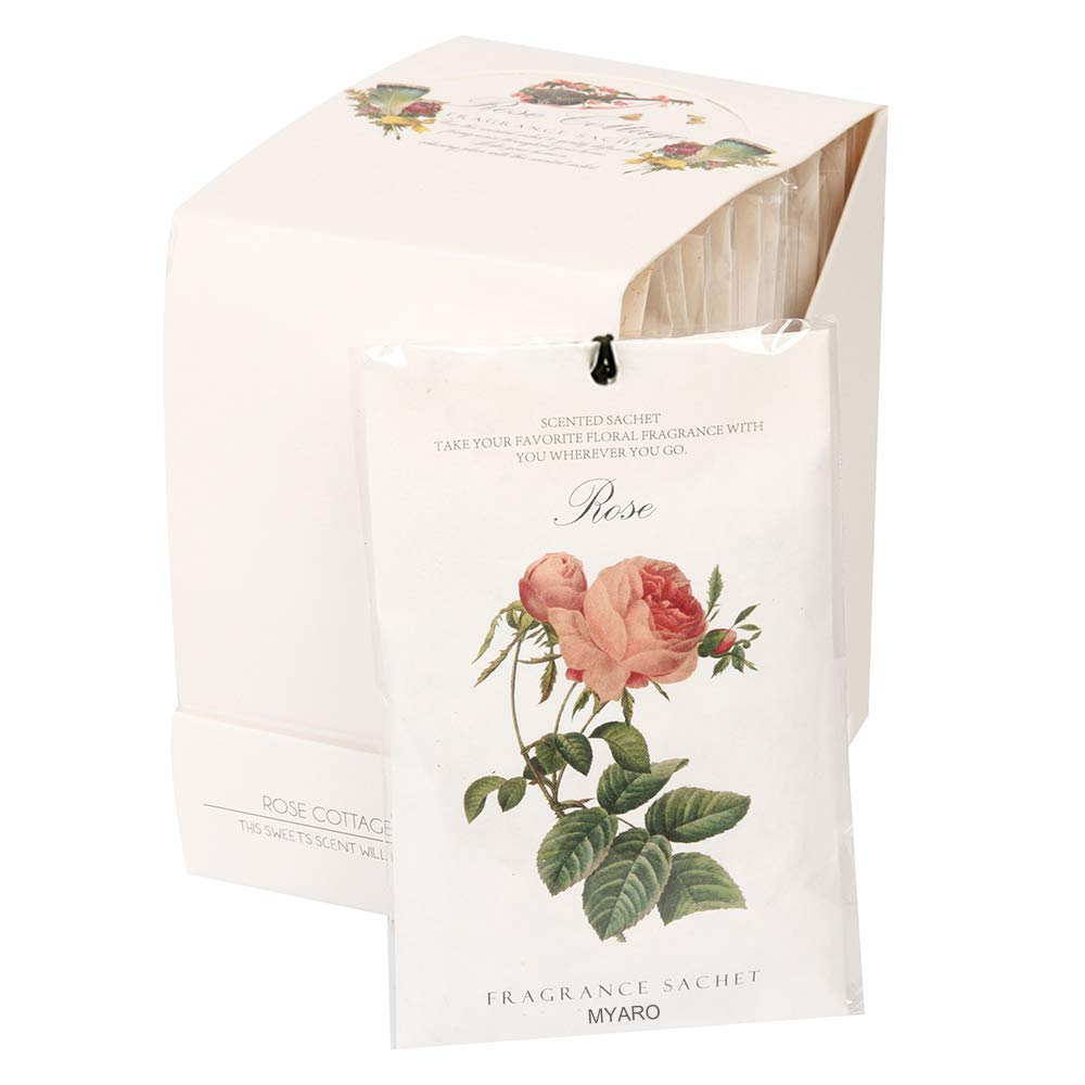 MYARO 12 Packs Rose Scented Sachets for Drawer and Closet