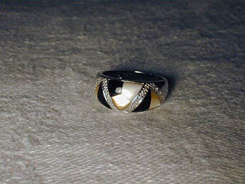 Gorgeous Estate 14K White Gold Onyx Mabe MOP Pearl Diamond Band Ring