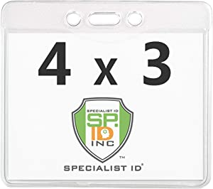 Clear 4X3 Plastic Immunization Card Holder Protector for Flying - Heavy Duty Horizontal Name Tag Lanyard Holder for Printable 4 x 3 Document and ID Badge by Specialist ID