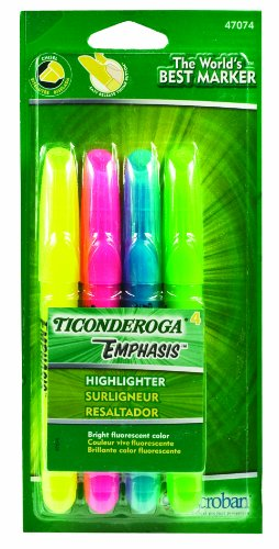 Ticonderoga Emphasis Fluorescent Highlighters, Desk Style, Chisel Tip, Pack of 4 Assorted Colors (47074) Dixon Fluorescent Highlighter
