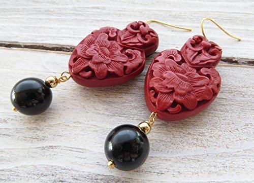 Cinnabar earrings, statement earrings, red dangle earrings, black agate earrings, drop earrings, oriental jewelry, italian jewelry