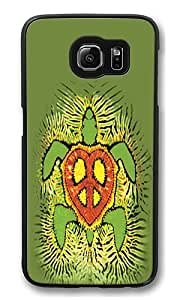 Samsung Galaxy S6 Case, Rasta Peace Turtle High Quality Hard Shell Snap-on Case for Samsung Galaxy S6 Black Bumper