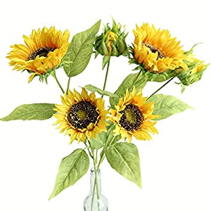 Htmeing Artificial Sunflowers Silk Flowers Fake Branches Decorative Plants Stems for Home Office Shop Decor 78