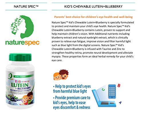 Nature Spec Kids Chewable Lutein Premium Blueberry Flavor Taurine Vitamin Zinc Eyebright Extract Lycium Extract Kid's Eye Health,Vitamin Chewbale Eye Health Kid Lutein by Nature Spec (Image #7)