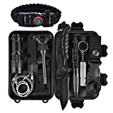 Emergency Survival Kit 13 in 1, Outdoor Survival Gear Tool with Survival Bracelet, Folding Knife, Compass, Emergency Blanket, Fire Starter, Whistle, Tactical Pen for Camping, Hiking, Climbing (set 3)
