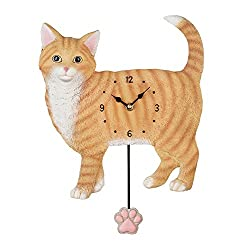 Collections Etc Hand-Painted Decorative Cat Wall Clock with Paw Pendulum, Cute Pet Lovers Gift