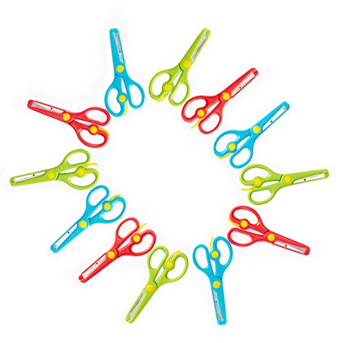 Training Scissors for Kids, Preschool Children Safety Scissors Set - Safe Round Blunt Tip - Perfect for Developing Cutting Skills for Arts & Crafts and School - Assorted Colors - 12-Pack by Klingy