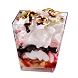 Tosnail 6.5 Oz Capacity Square Clear Plastic Dessert Tumbler Cups - 40 Pack