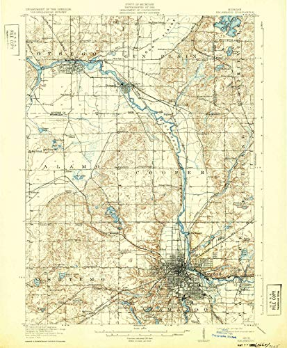 YellowMaps Kalamazoo MI topo map, 1:62500 Scale, 15 X 15 Minute, Historical, 1918, Updated 1932, 19.7 x 16.3 in - Paper (Kalamazoo 1)