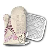 BBQGloves3 Floral Paris Symbols Landmarks Eiffel Tower Hot Air Balloon Bicycle Romantic Couple Shaped Oven Mitts and Pot Holders Set of 2 for Kitchen Set with Cotton Non-Slip Grip Review