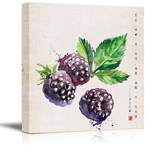 Square Watercolor Style Chinese Painting of a Blackberries