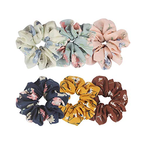 (Feccile 6-Pack Large Women's Lady Girls Chiffon Flower Hair Scrunchies Hair Bow Chiffon Ponytail Holder Elastic Head Rope Intestine Circle Ring Seamless Headband Headwear Hairband Set Kit)