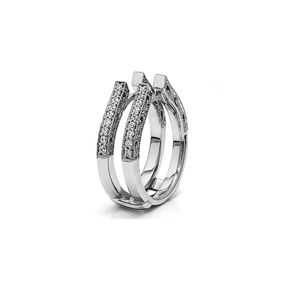 TwoBirch Sterling Silver Cathedral Style Ring Guard with Millgrained Edges and Filigree Design with Diamonds (G H,I2 I3) (0.29 ct. tw.)