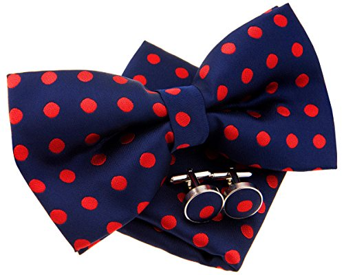 """Retreez Classic Polka Dots Woven Microfiber Pre-tied Bow Tie (Width: 5"""") with matching Pocket Square and Cufflinks, Gift Box Set as a Christmas Gift, Birthday Gift - Navy Blue with Red Dots"""