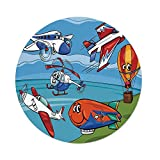 iPrint Polyester Round Tablecloth,Kids,Airplane Cartoons Toy Planes Jets Helicopter and Hot Air Balloon Aircraft Ship Party Decorations,Dining Room Kitchen Picnic Table Cloth Cover,for Outdoor Indoor