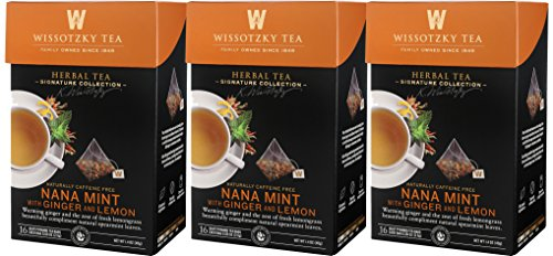 Wissotzky Tea, Signature Collection, Nana Mint with Ginger & Lemon, 16 Count (Pack of 3) ()