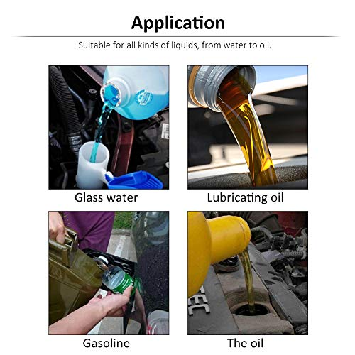 8cm Wide Mouth Fuel Funnel Universal Automotive Vehicle Plastic Filling Funnel Long Flexible Spout Extension Car Funnel for Water Gasoline Coolant Transmission Engine Oil (5pcs) by Keenso (Image #6)